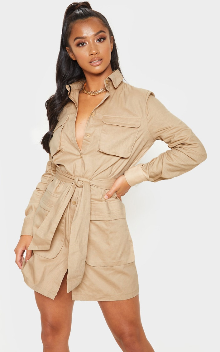 Petite Fawn Utility Tie Waist Shirt Dress 4