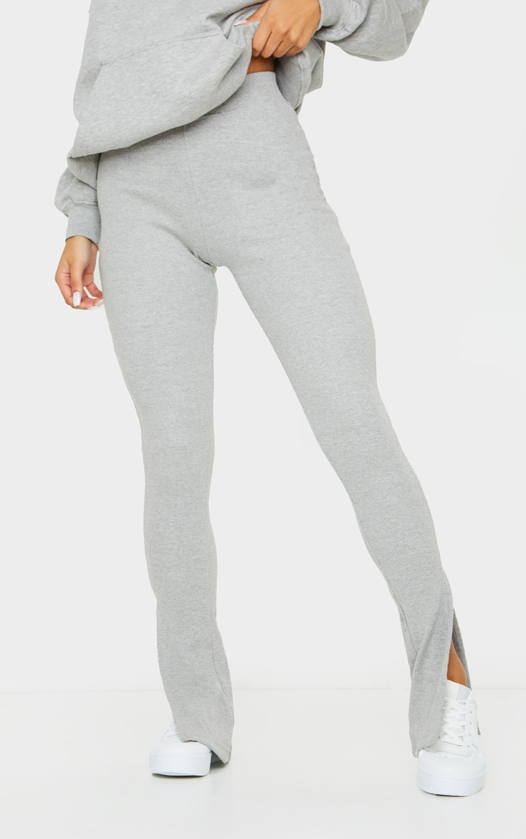 Grey High Waisted Textured Rib Split Hem Trouser 2