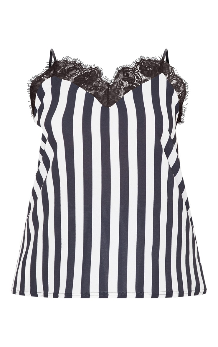 Plus Monochrome Lace Trim Striped Cami Top 3