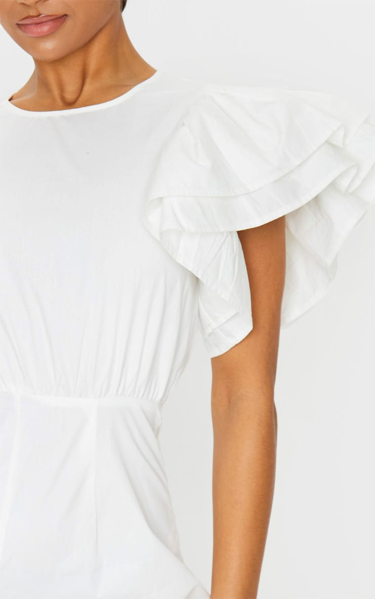 White Frill Sleeve Woven Playsuit 4