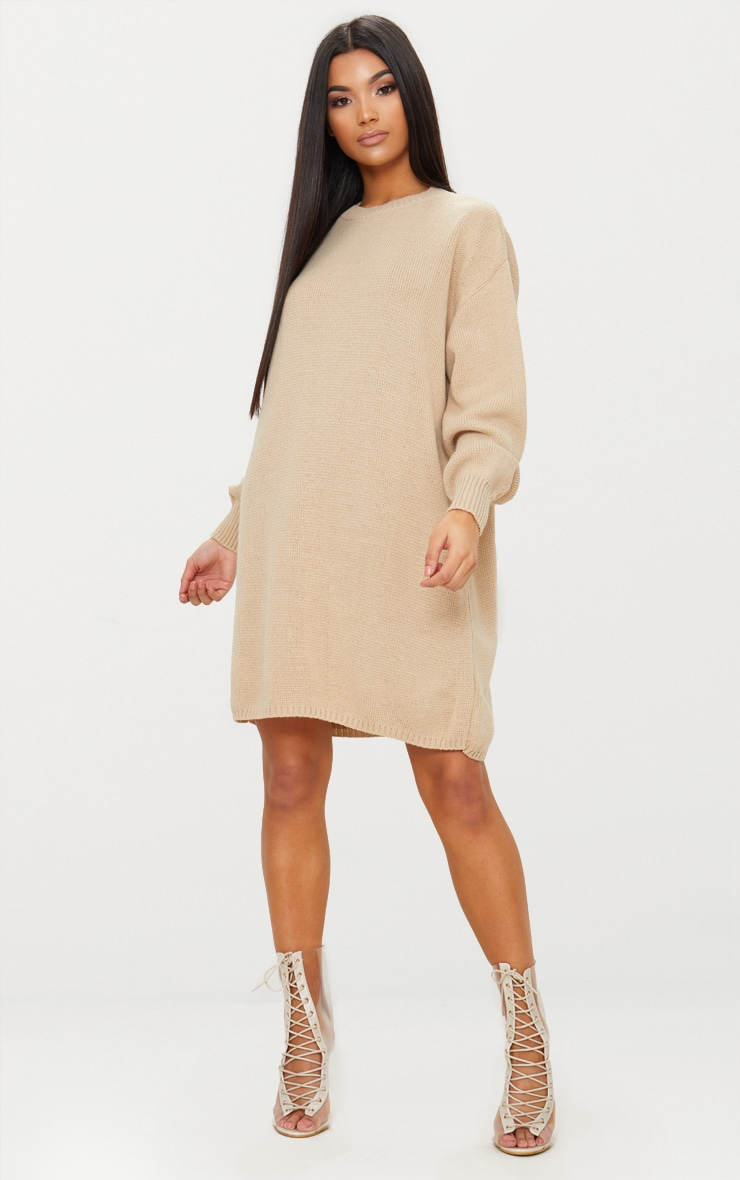 Stone Oversized Knitted Jumper Dress 1