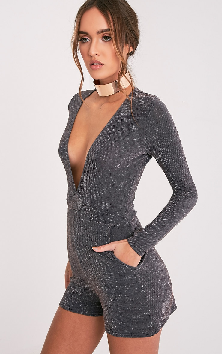 Preeya Grey Sparkle Plunge Playsuit 4
