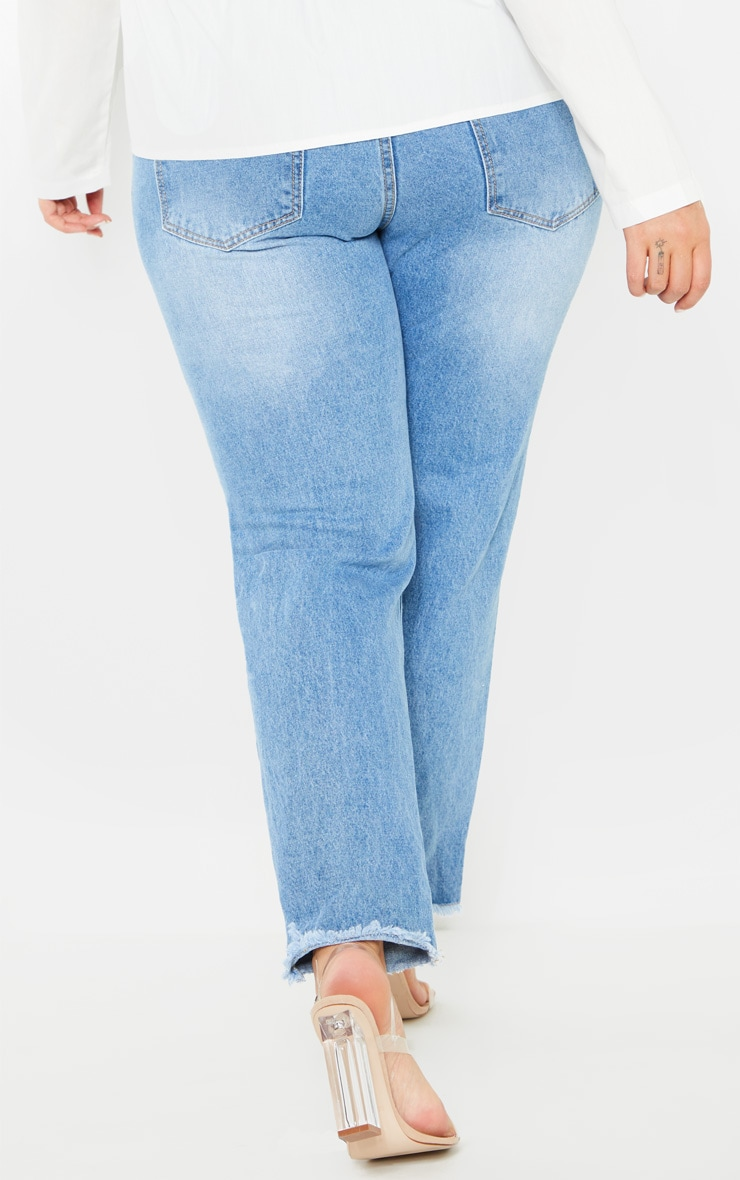Plus Mid Wash Extreme Knee Rip Straight Leg Cropped Jean 4
