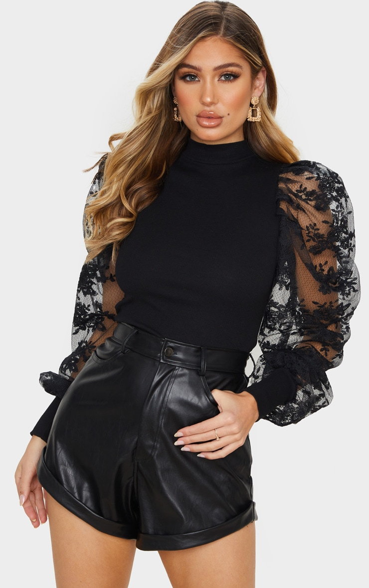 Black Floral Embroidered Puff Sleeve Rib Long Top 1