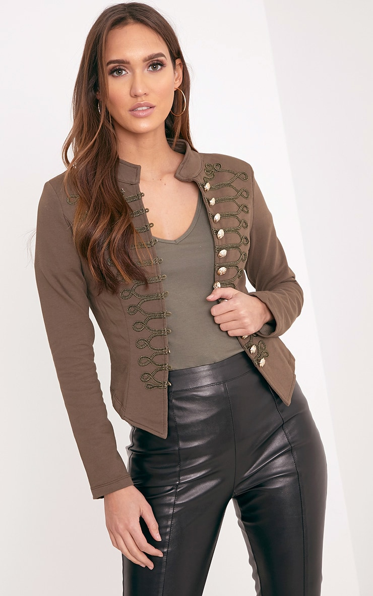 Zoeey Khaki Slim Fit Cropped Military Jacket 1