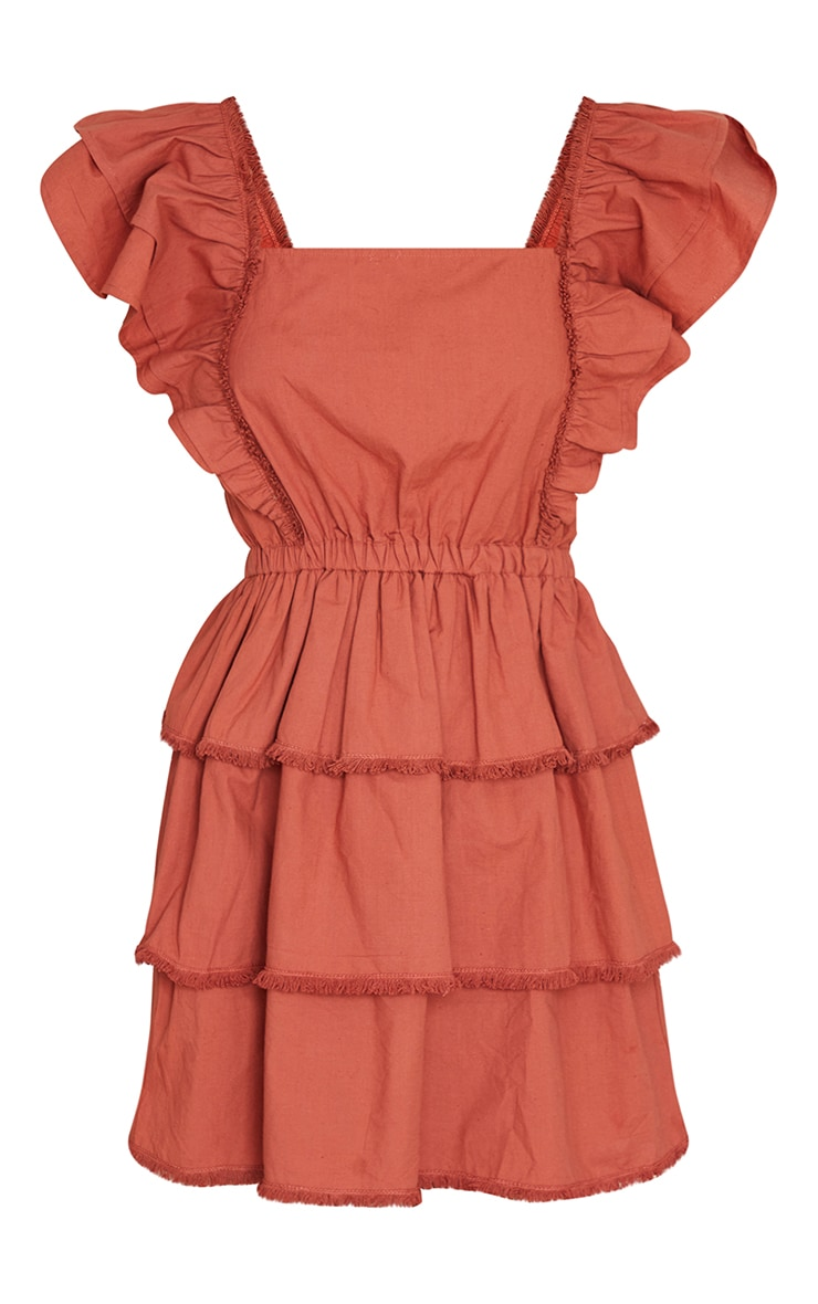 Burnt Clay Frill Detail Tiered Tie Back Shift Dress 5