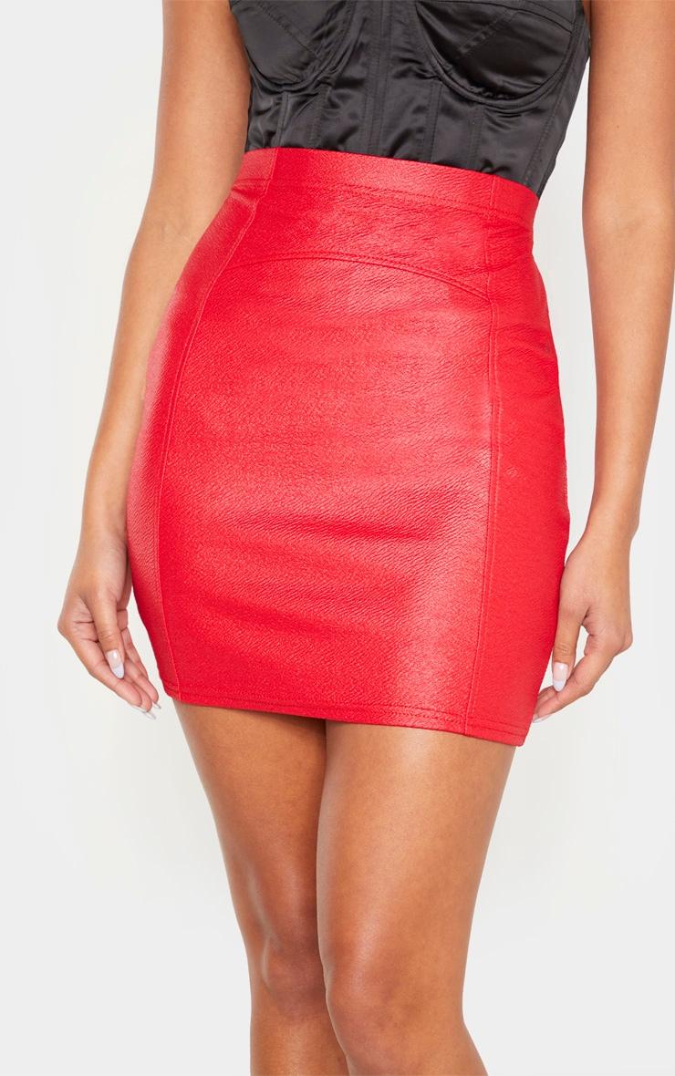 Red Textured Seam Detail Mini Skirt 6
