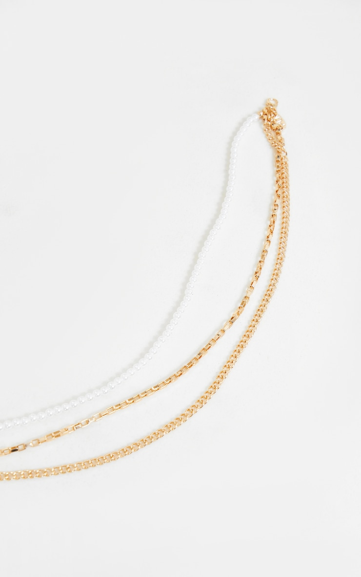 Gold Double Dainty Chain And Pearl Necklace 4