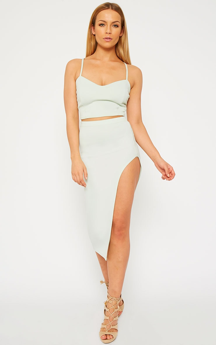 Savina Mint Cross Back Strap Crop Top 3
