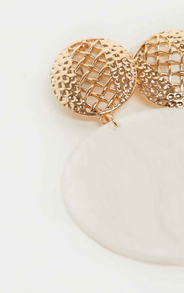 White Marble Circle Drop Earrings 3