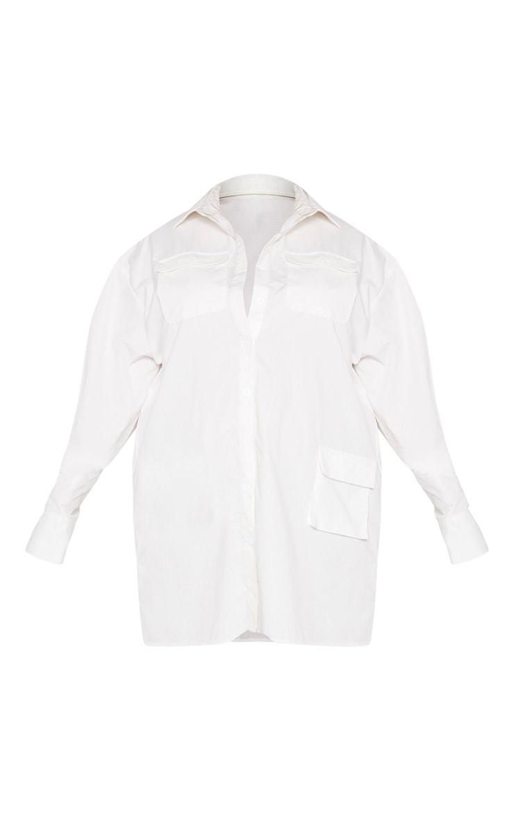 Plus White Pocket Detail Long Sleeve Shirt Dress 3
