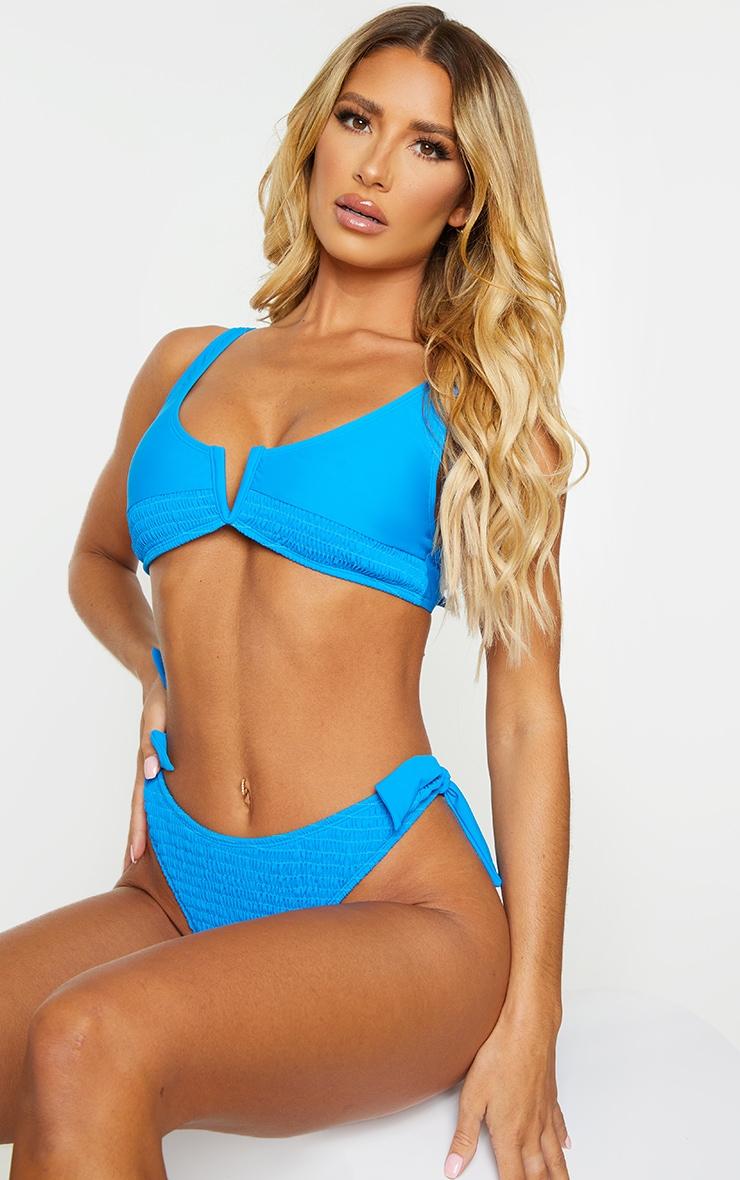 Blue Smocked V Wire Bikini Top 1