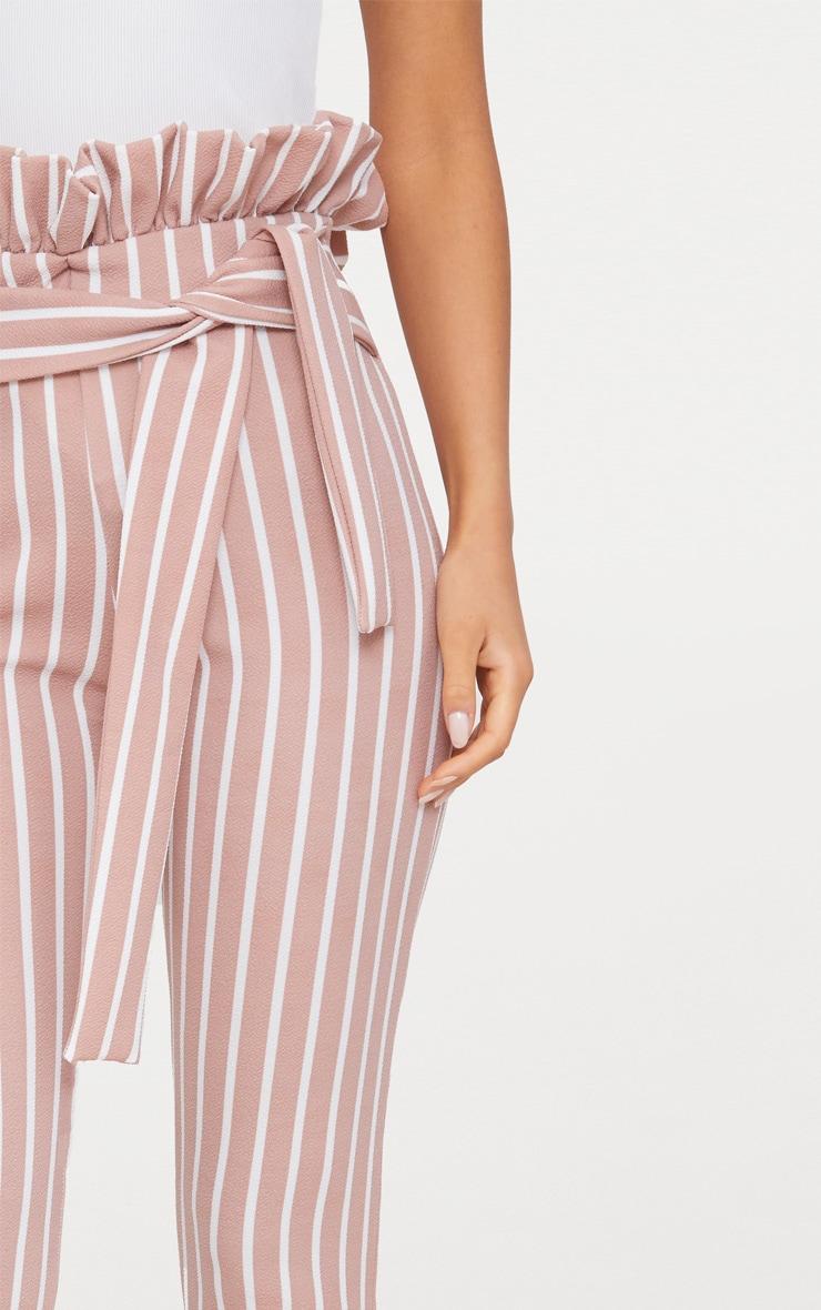 628ffdef2472 Blush Pinstripe Paperbag Skinny Trousers image 5