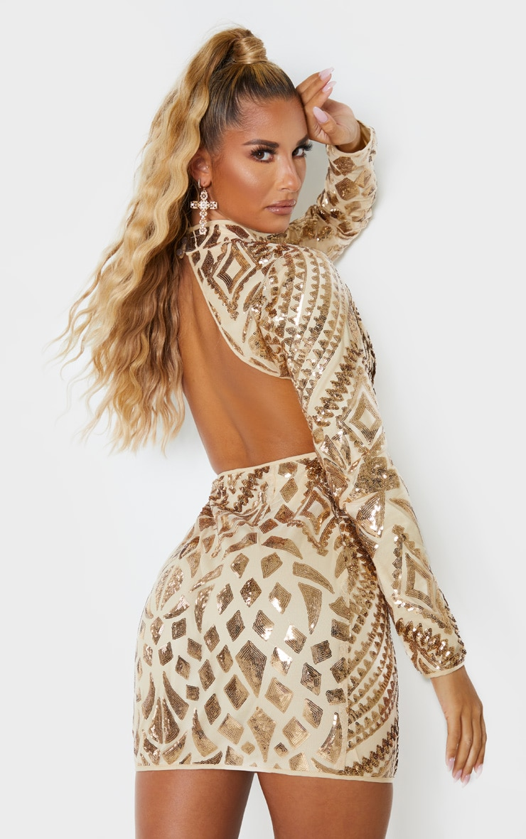 Gold Sequin Patterned Open Back Bodycon Dress 2