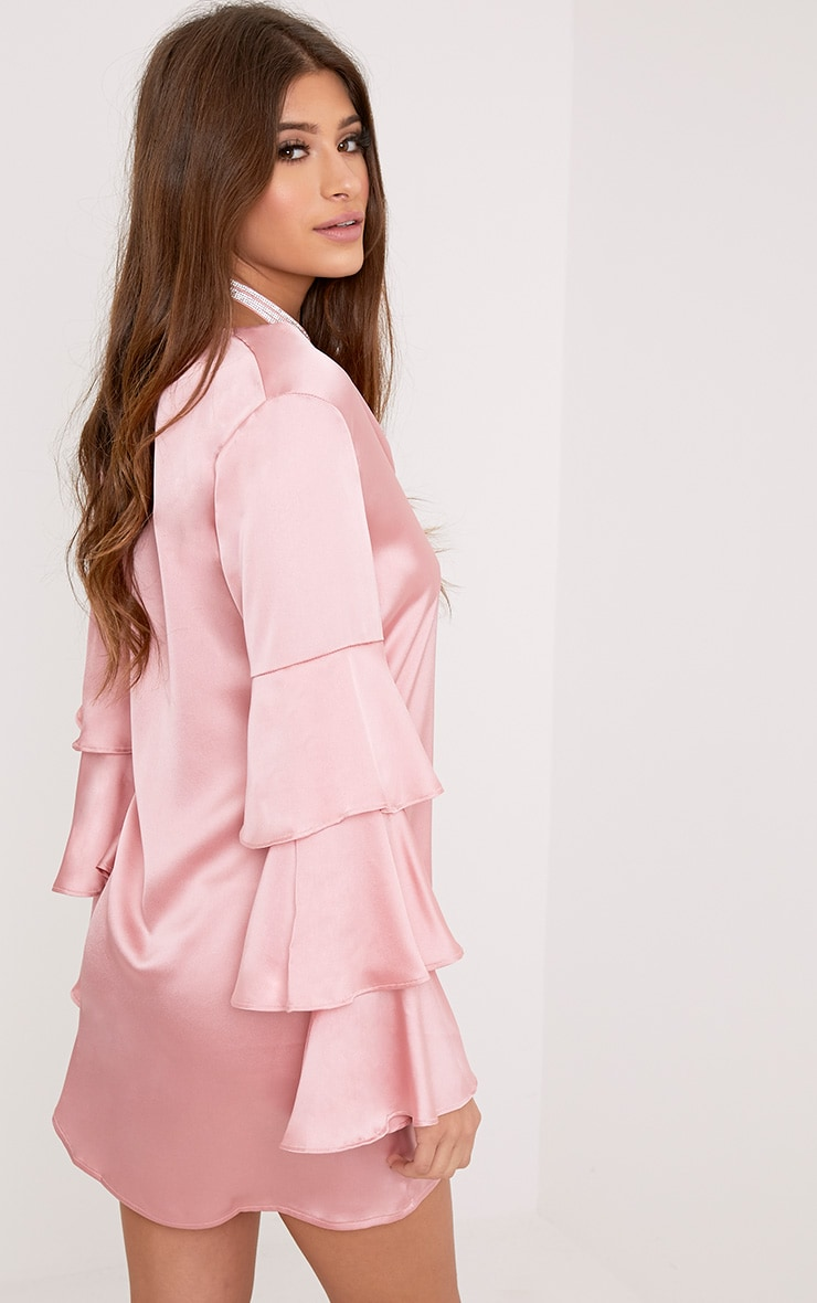 Kyleah Pink Satin Ruffle Sleeve Shift Dress 2