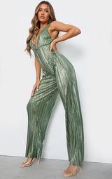 Green Metallic Plisse Plunge Wide Leg Jumpsuit 3
