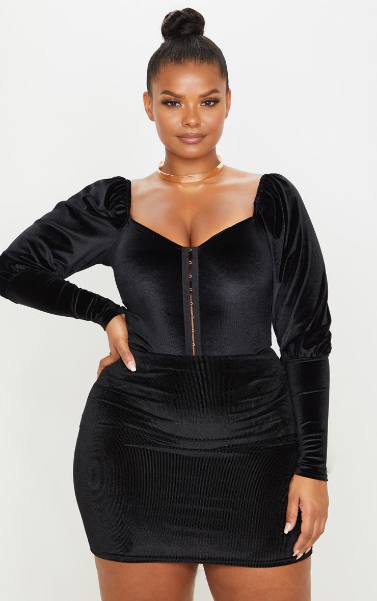 Plus Black Velvet Stripe Mini Skirt 1