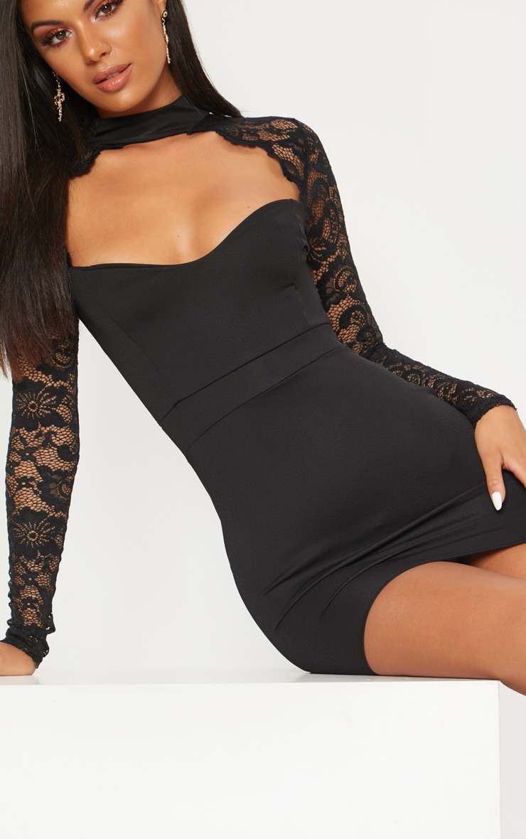 Black Lace Insert Long Sleeve Bodycon Dress 5