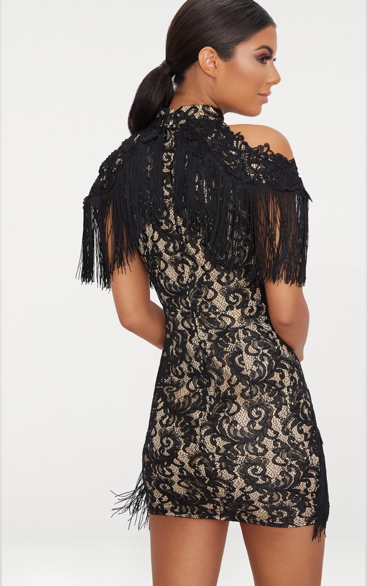 Black Cold Shoulder Lace Tassel Trim Bodycon Dress 2