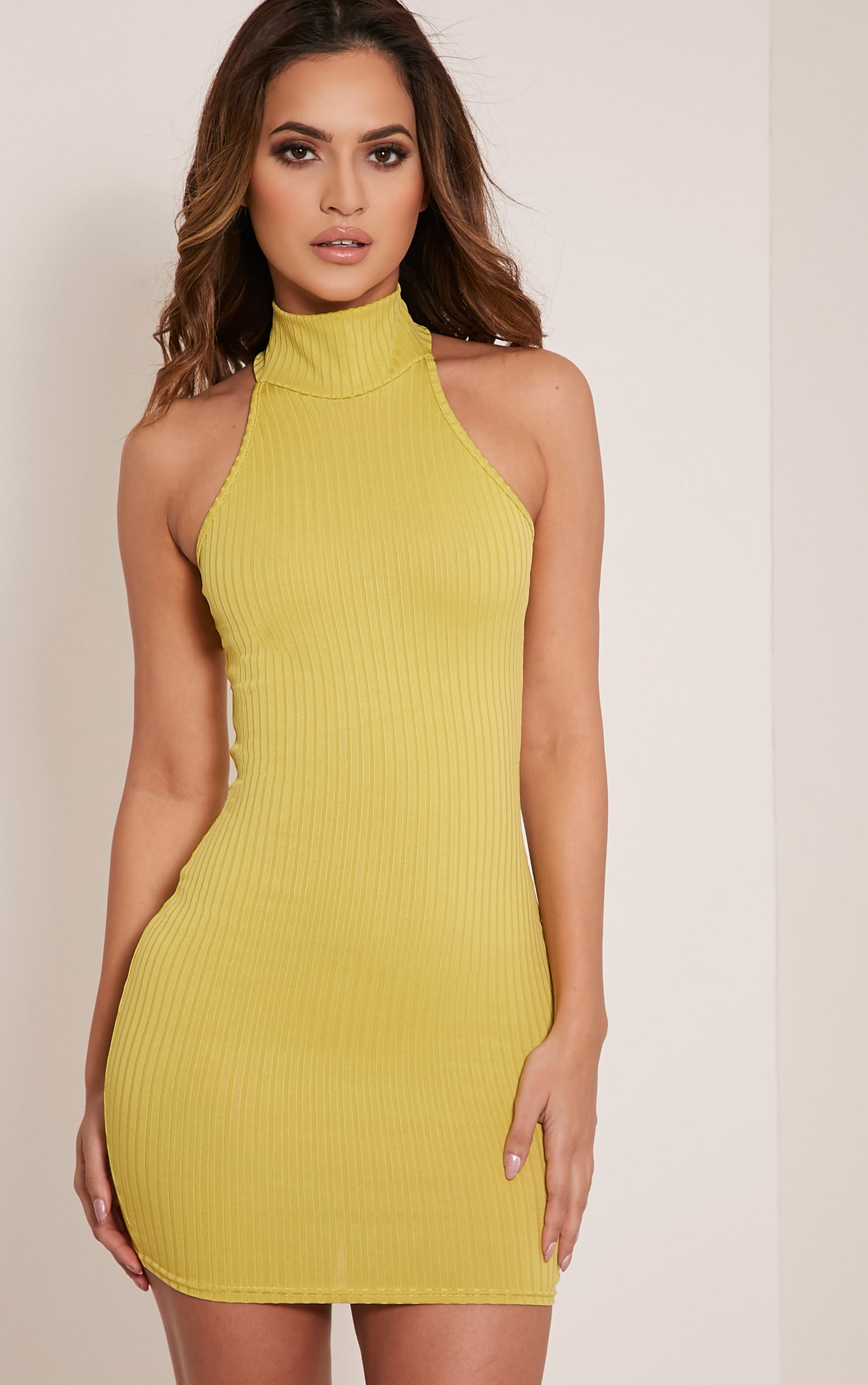 Pearla Dark Lime Racer Neck Ribbed Bodycon Dress 1