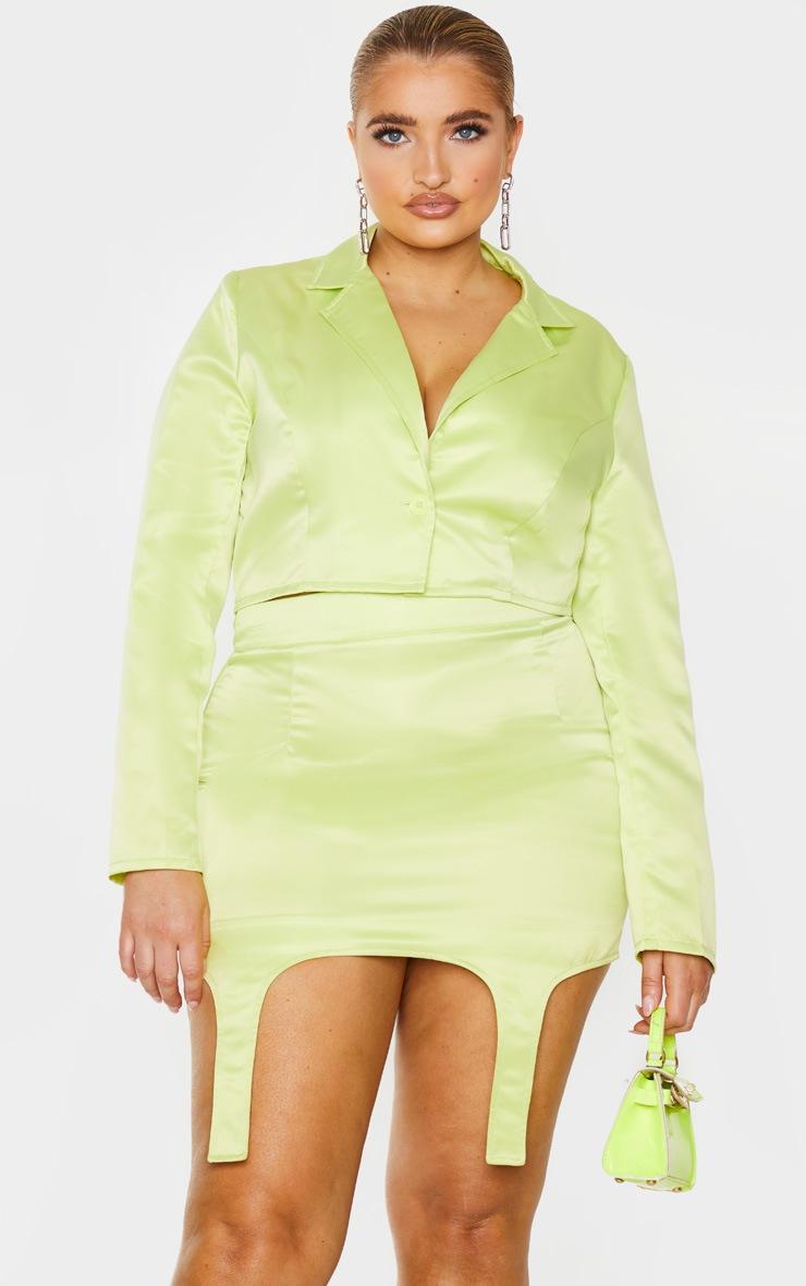 PLT Plus - Jupe vert citron à détail porte-jarretelles 4