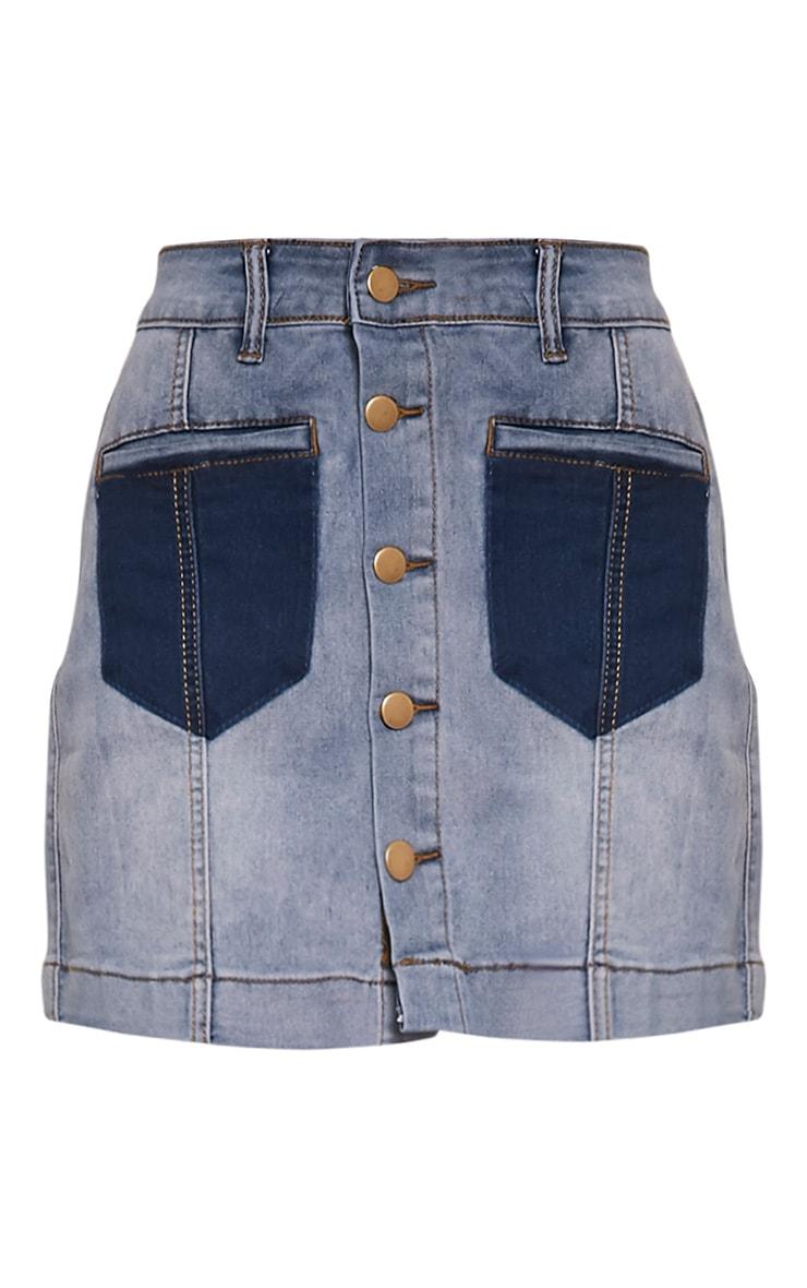 Bayley Light Wash Patch Pocket Denim Mini Skirt 3
