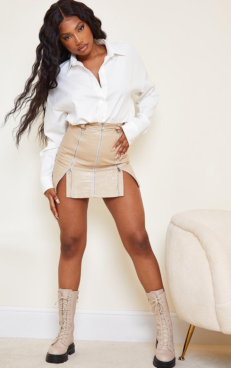 Stone Faux Leather Zip Detail Croc Mini Skirt 4