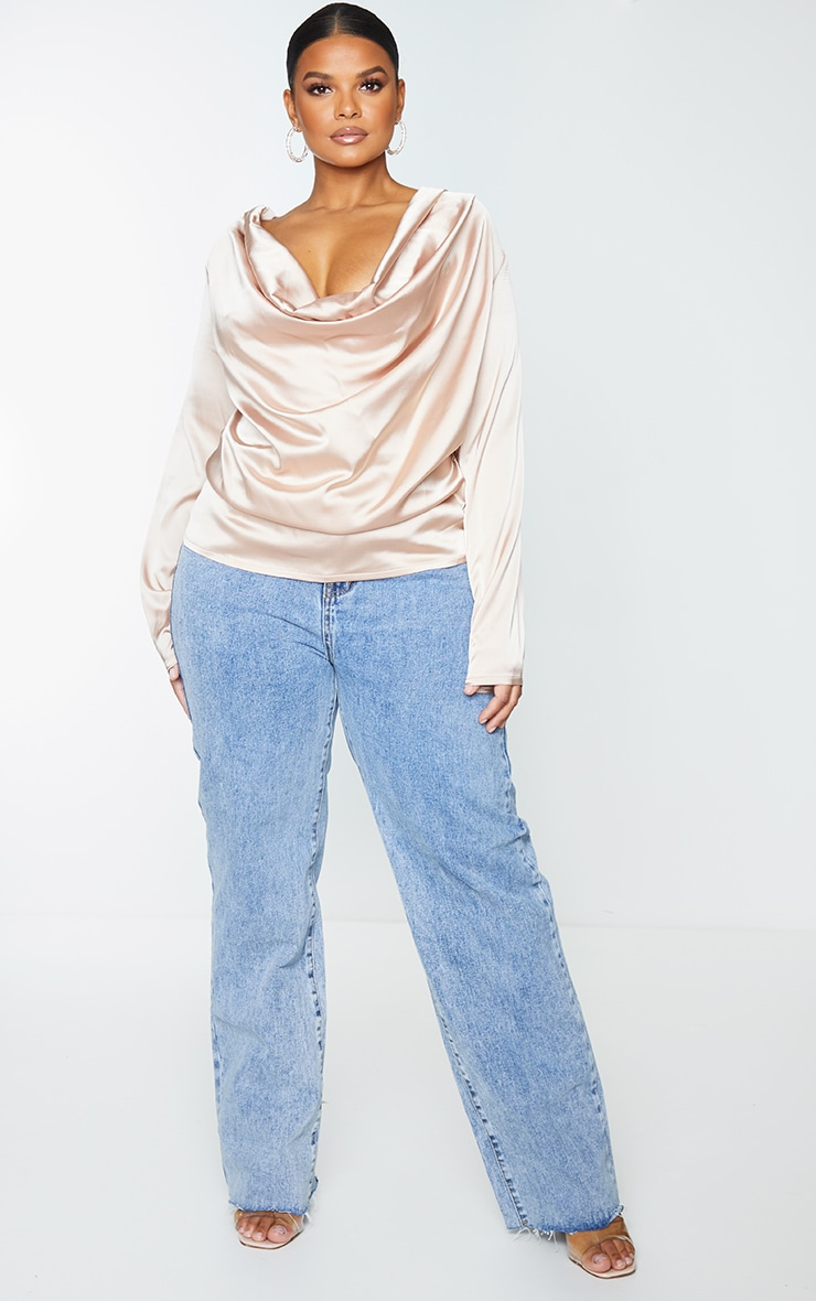 Plus Champagne Satin Cowl Long Sleeve Top 1