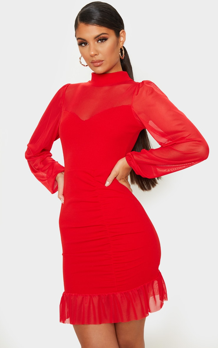 Red High Neck Ruched Mesh Contrast Bodycon Dress 4