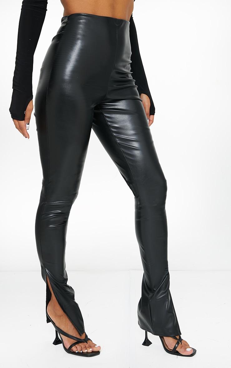 Black Faux Leather Split Hem Pants 2