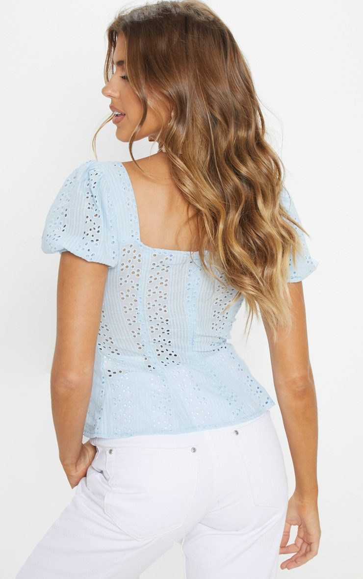 Pale Blue Broderie Anglaise Puff Sleeve Tie Front Top 2