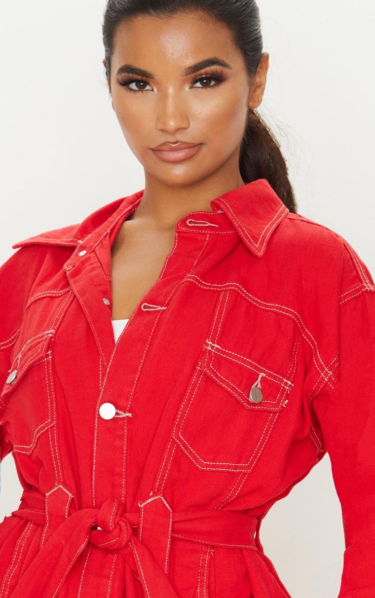 Red Tie Waist Oversized Denim Jacket 5