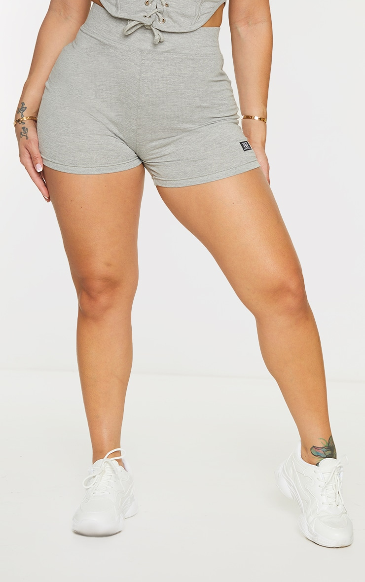 PRETTYLITTLETHING Shape Grey Badge Detail Shorts 2