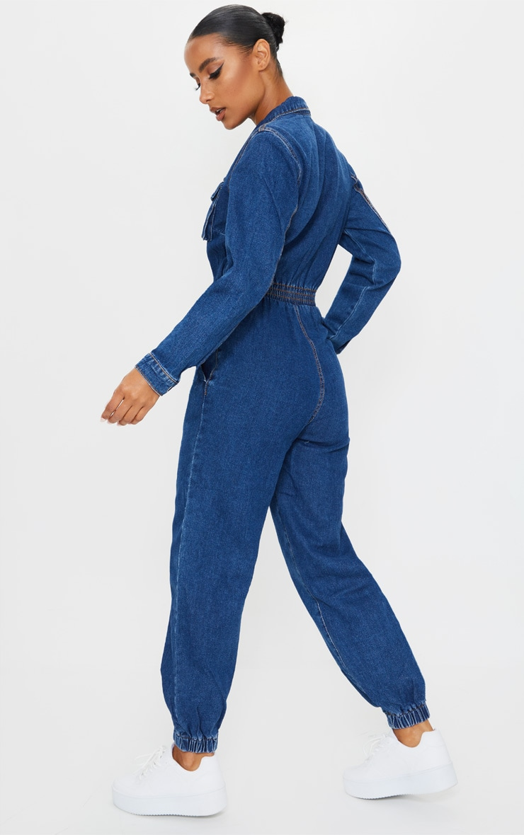 Mid Wash Zip Front Denim Jumpsuit 2