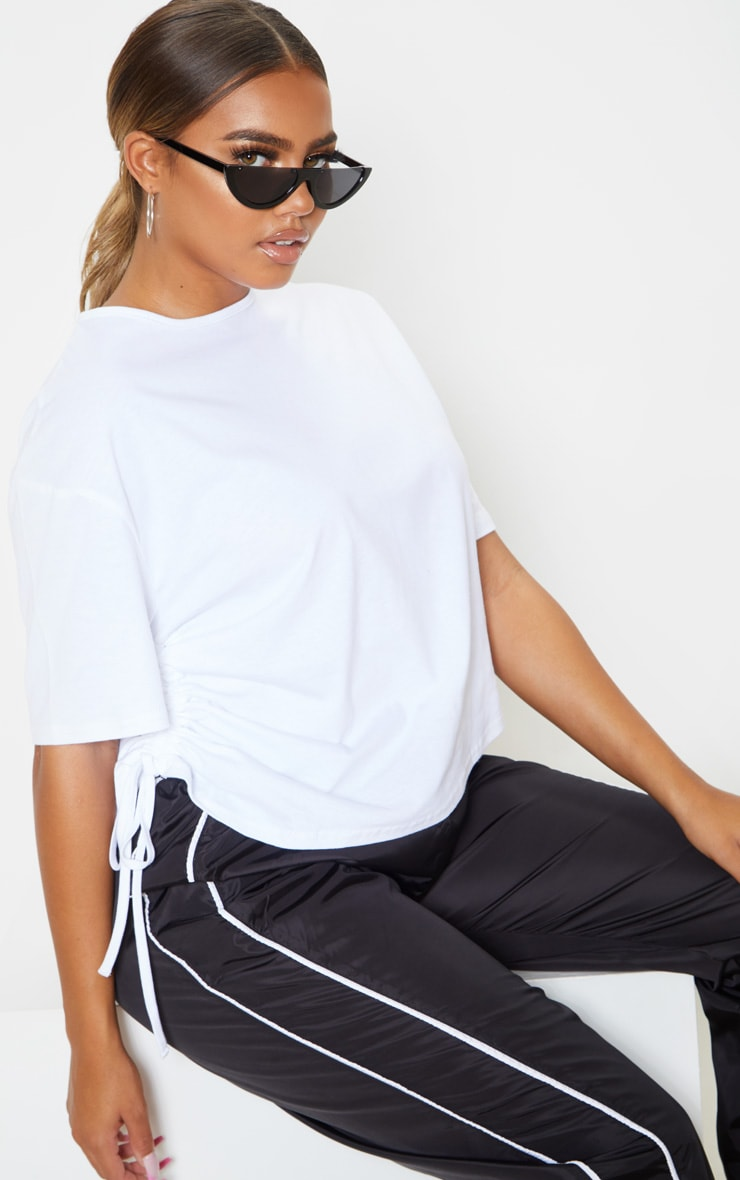 White Ruched Side T Shirt 1