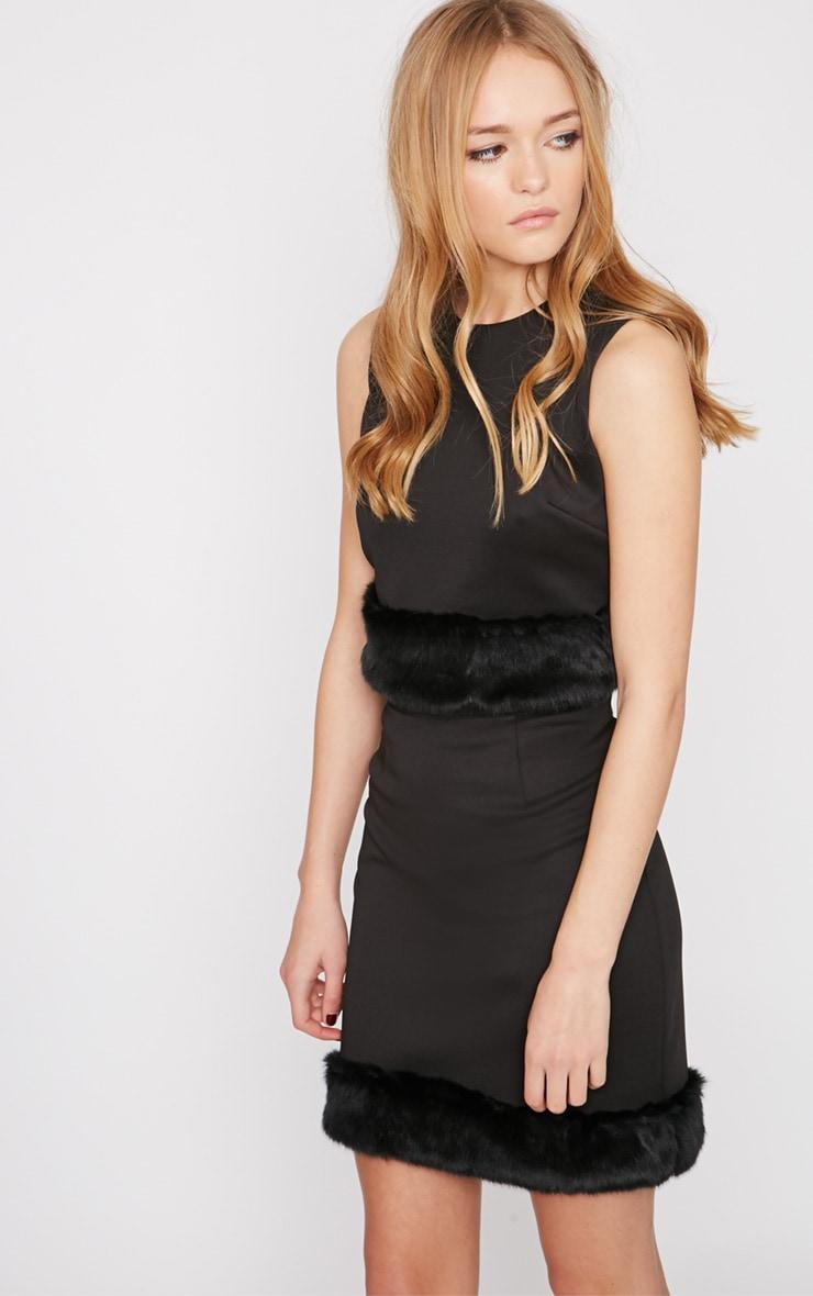 Rosella Black Fur Trim Mini Skirt  6
