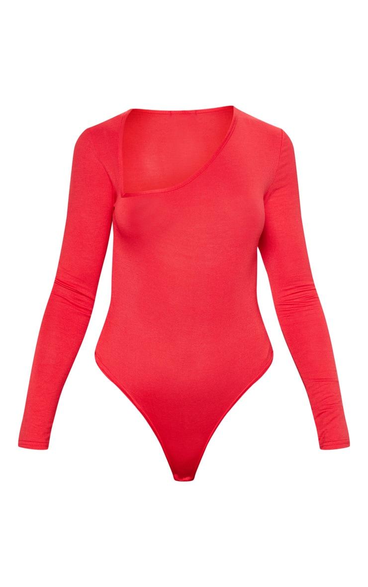 Red Asymmetrical Jersey Thong Bodysuit 3