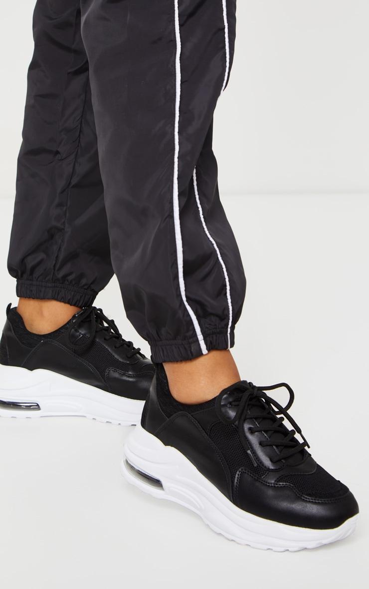 Black Bubble Panel Sole Lace Up Sneaker 1