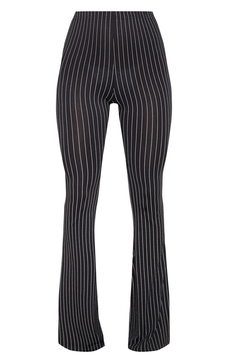 Black Jersey Pinstripe Flared Pants 3