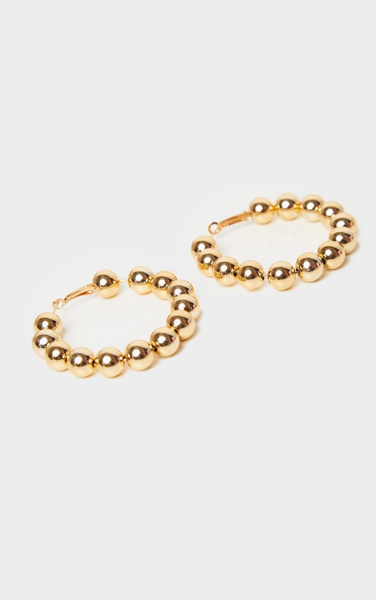 Gold Beaded Hoop Earrings 2