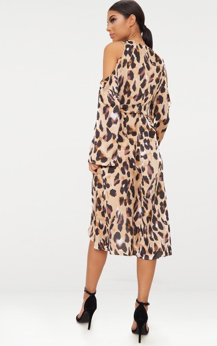 Leopard Satin Midi Dress 2