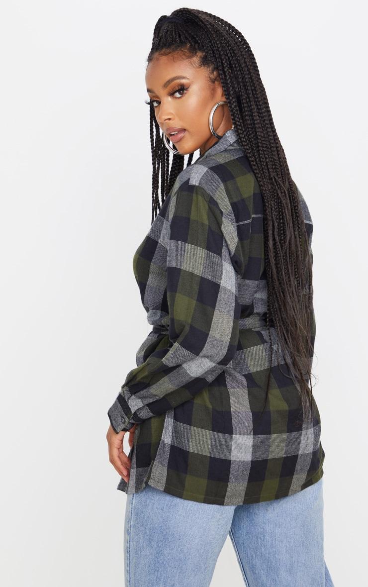 Khaki Check Belted Oversized Shirt 2