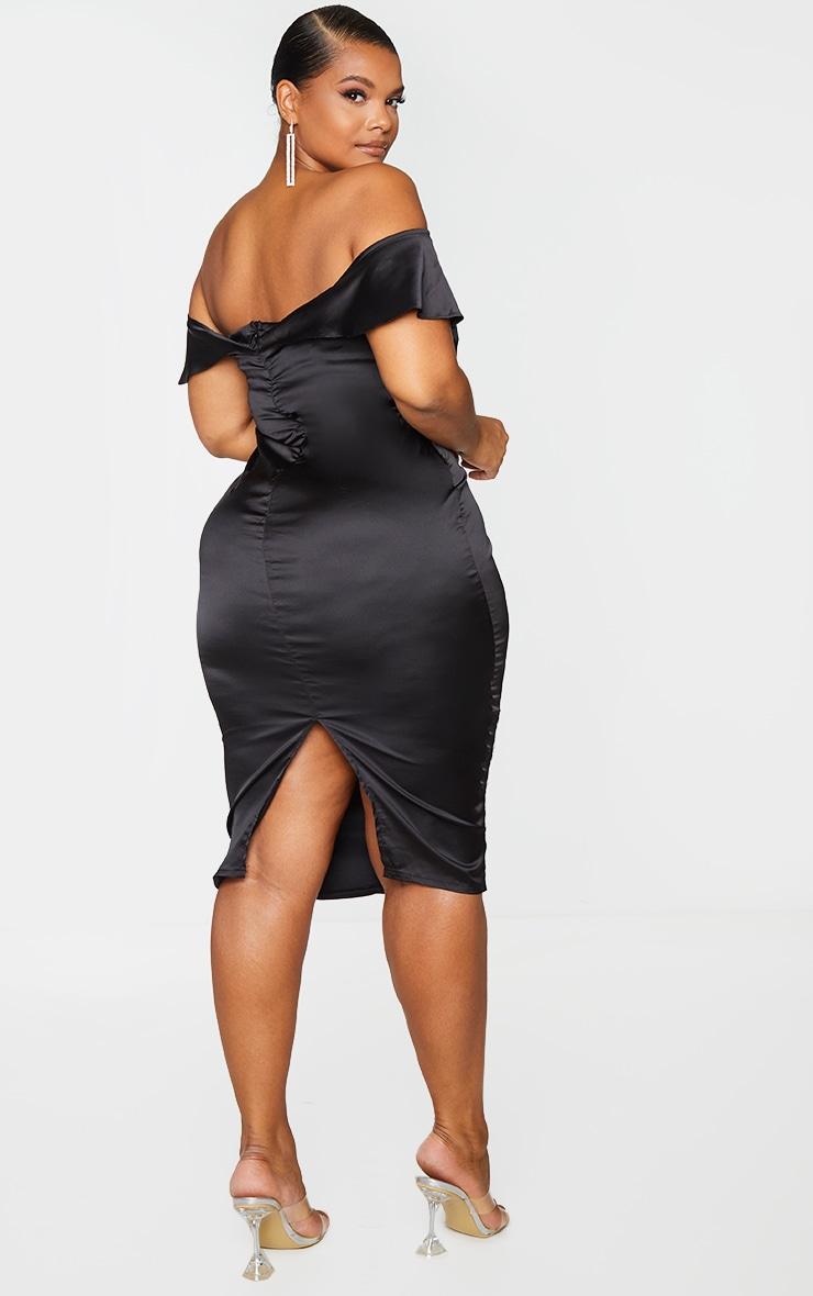 Plus Black Satin Corset Detail Bardot Midi Dress 2