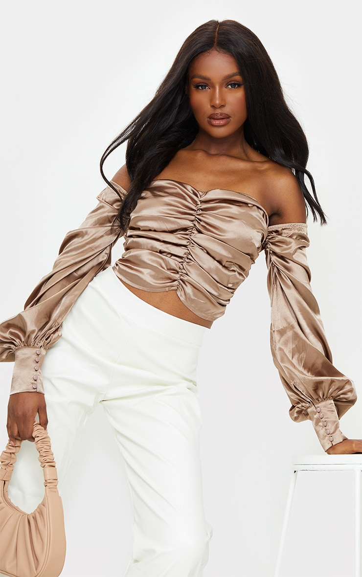 Tall Mocha Satin Ruched Long Sleeve Crop Top 1