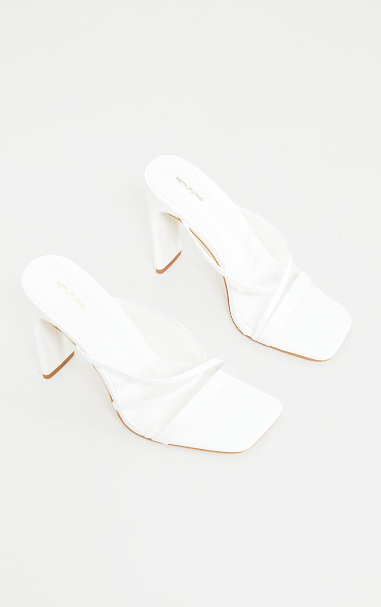 White Wide Fit Asymmetric Strappy High Flat Block Heel Mules 3