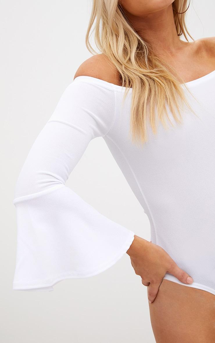 Petite White Flare Hem Sleeve Bodysuit 6