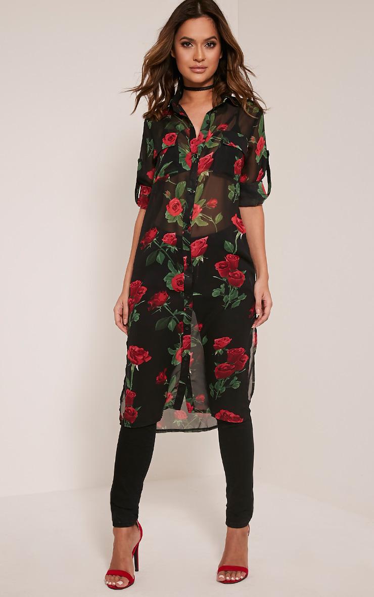 7ec5875f0 Tallulah Black Rose Print Chiffon Longline Shirt   PrettyLittleThing