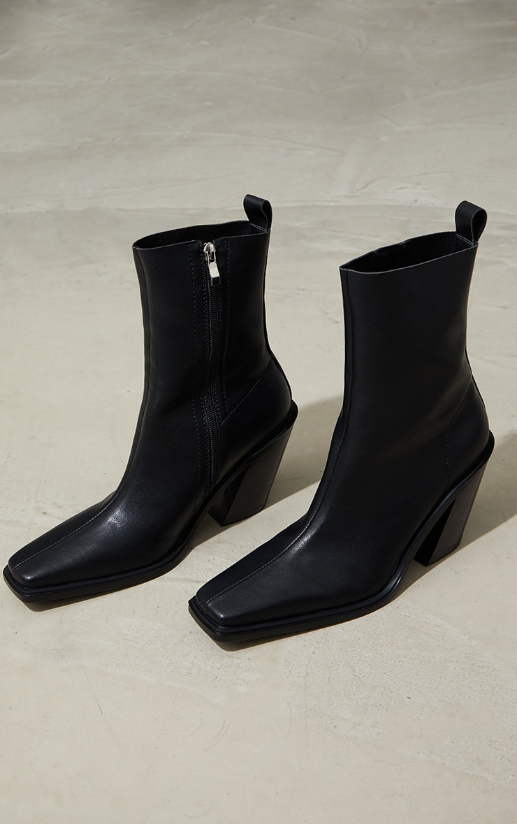 Black PU Square Pointed Toe Heeled Western Boots 3