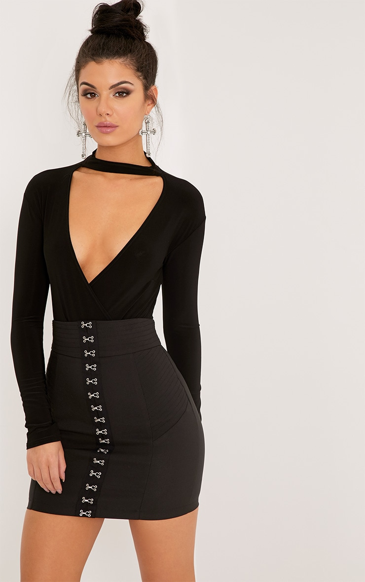 Sherrie Black Cross Front Choker Bodysuit 1