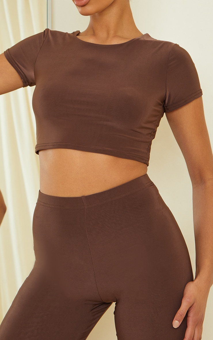 Dark Brown Slinky Short Sleeve Crop Top 4